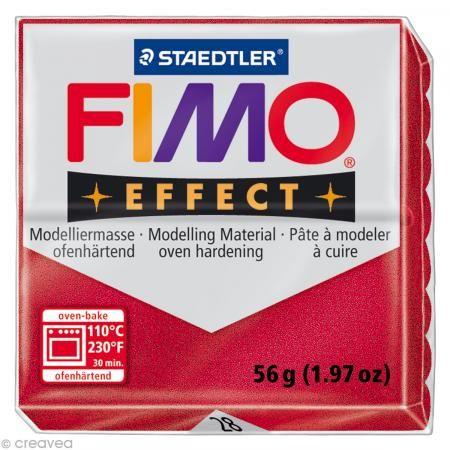 Fimo Effect Rouge Rubis Métallique 28 - 56 gr - Photo n°1
