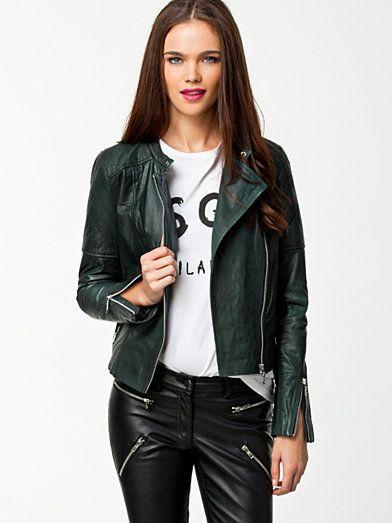 Brioche Leather Jacket - Selected Femme - Grön - Jackor - Kläder - Kvinna - Nelly.com