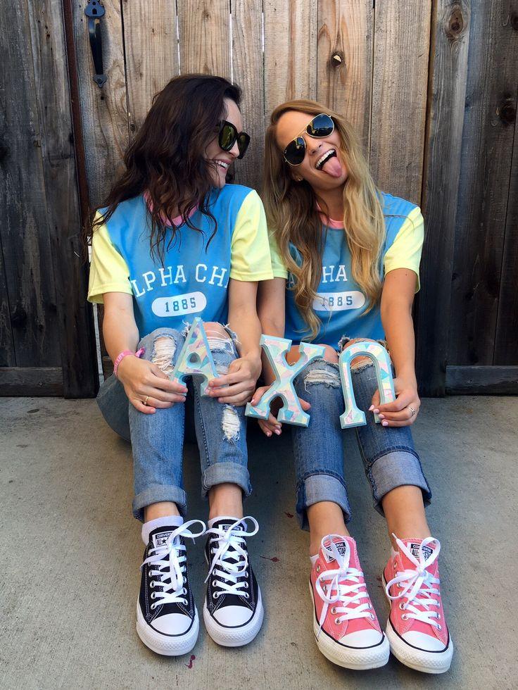 Color Block Tees on Site! | Alpha Chi Omega | Bid Day Shirts | Sorority Recruitment | Custom Apparel