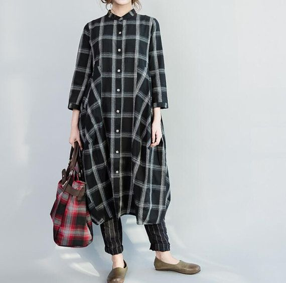 women long single breasted cotton and linen dress by MaLieb