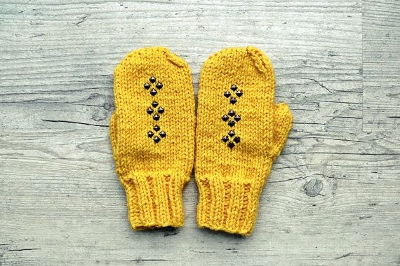 Yellow studded mittens