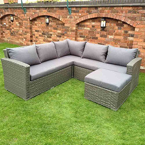 Epic HGG Rattan Corner Sofa Set Grey Wicker Weave Outdoor Garden Patio Furniture