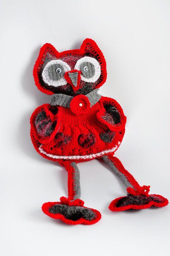 Ручной вязки Мягкие игрушки Животные Заполненные Красный Совы Семья с Monpasier