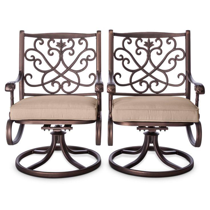 Folwell 2pk Cast Aluminum Swivel Dining Chairs Tan - Threshold