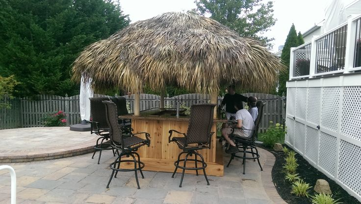 Bordentown, NJ.  June -2015 10 x 7 Custom Red Cedar Tiki Bar with a 12 x 9 Tiki Hut, Double Tap Beer Meister, mini Fridge, 18 x 12 drop in ice bin, speed rail, ceiling fan, TV, Stereo system, cabinets, 5 outlets, rope lighting, cedar footrest, switch for electric in roof, roof netting, 1-1/2 solid pine upper and lower bar tops with driftwood stain and spar urethane, rope edging,