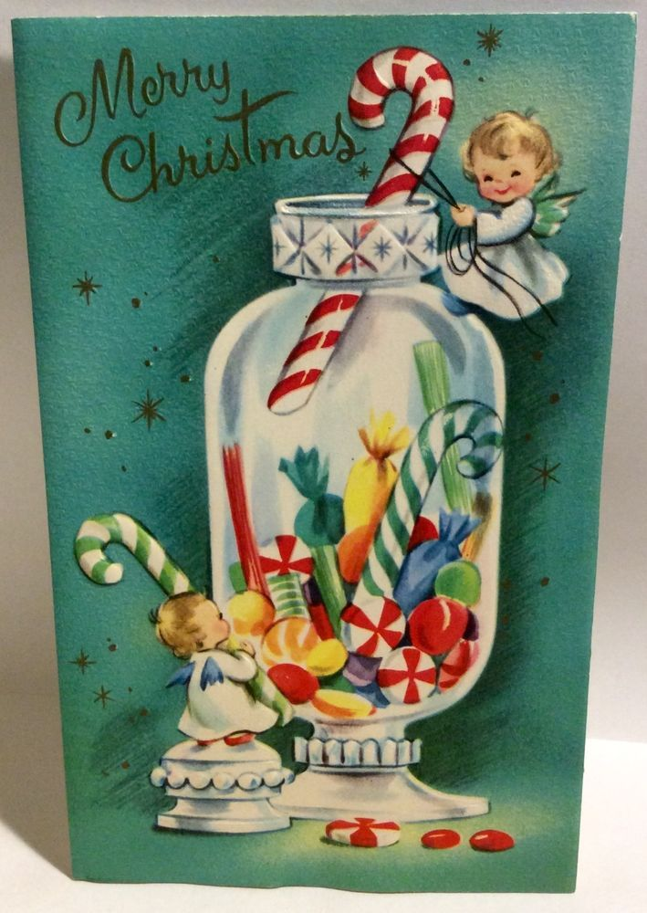 Two Sweet Angels Candy Apothecary Jar 1950's Vintage Christmas Greeting Card