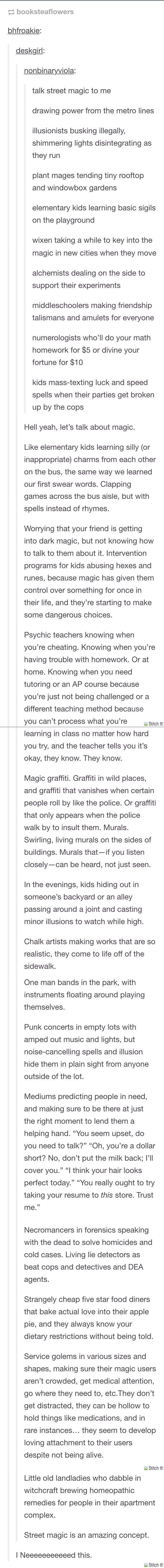 Story: For the modern fairy tale world. I just want a world with all of this happening. Maybe a Grimm's Fairy Tales like compilation of stories.
