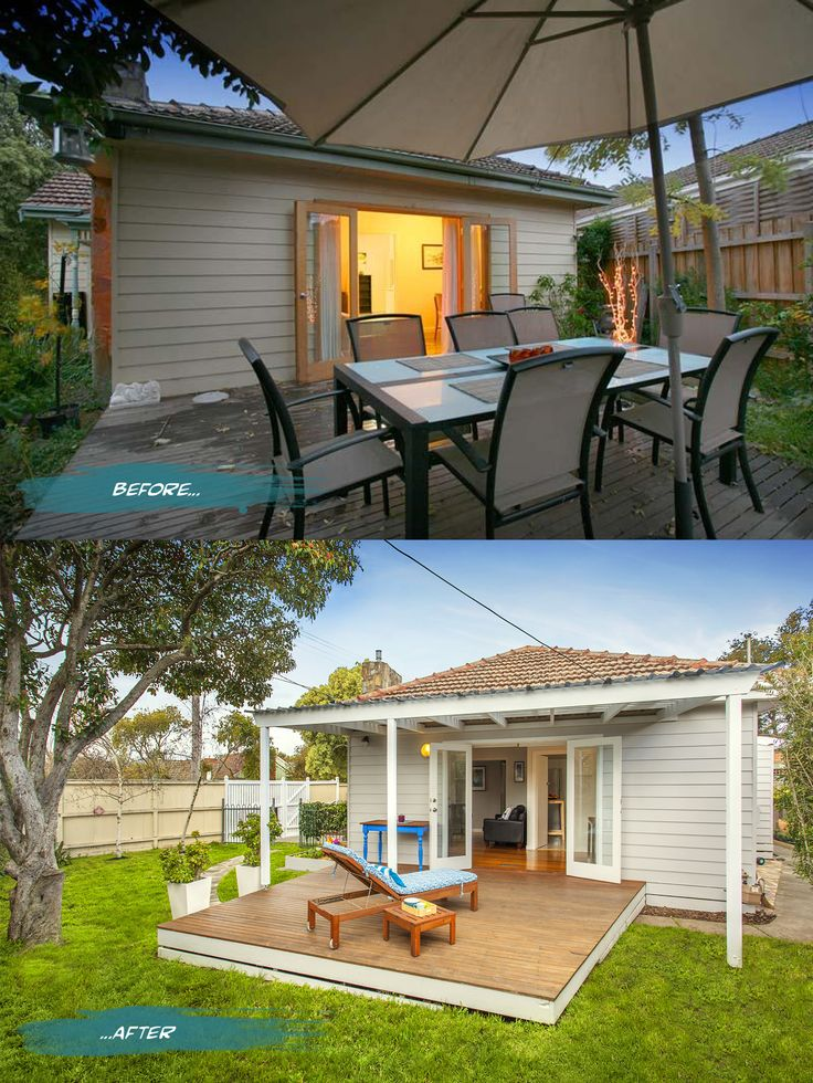 Outside deck before and after on Romona Sandon Designs blog. #interiors #beforeandafter #styling #exterior #deck #outdoors #home