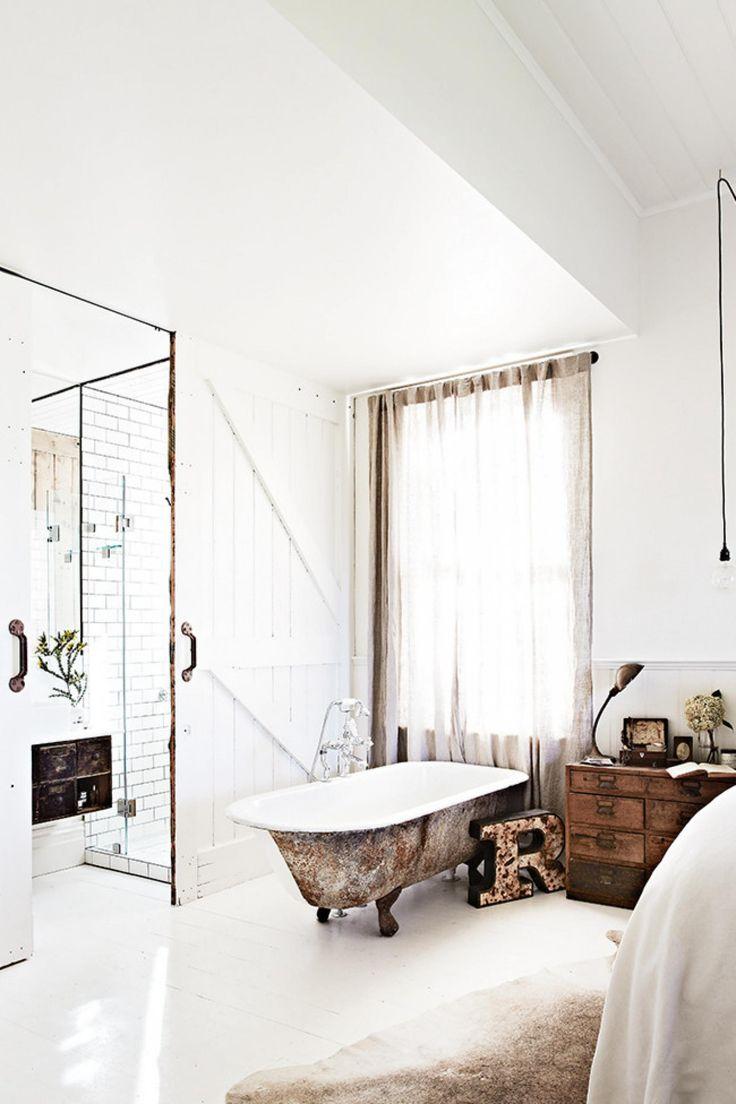 rustic bathroom bath tub white mar14