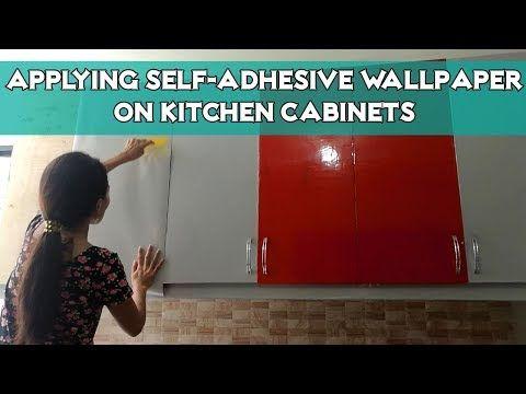 Applying Glossy Self Adhesive Wallpaper On Kitchen Cabinets Youtube Wallpaper For Kitchen Cabinets Self Adhesive Wallpaper Kitchen Wallpaper