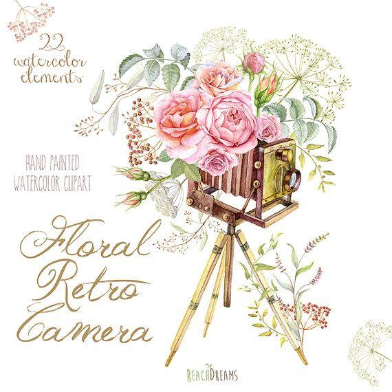 Акварель Цветочный ретро фотоаппарат.  Старинные свадебные, приглашения Поздравительная открытка, сделай сам, Прозрачный PNG, Розы fowers приглашения, листья, травы