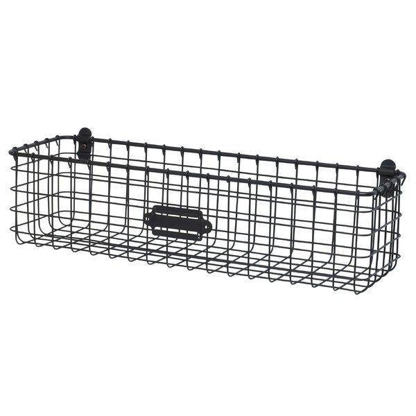 Reduce clutter and create an organized home with Spectrum's Vintage Wall Mount Basket. The basket's deep interior allows storage for wash cloths and hand towels in the bath, condiments and canned goods in the kitchen, to lawn and gardening supplies in the garage; the options are endless. A convenient label plate allows you to easily label the basket's content. Made of sturdy steel, this rustic storage bin will add the perfect amount of vintage charm to any space in the home.