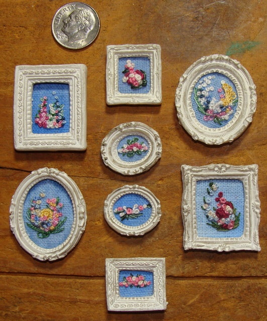 Dollhouse embroidery needlepoint french knot framed
