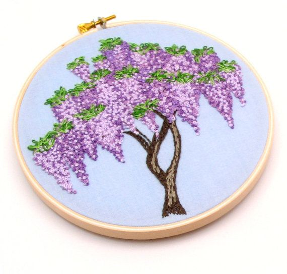 Wisteria Hand Embroidery Hand Stitched by LaurelSusanStudio