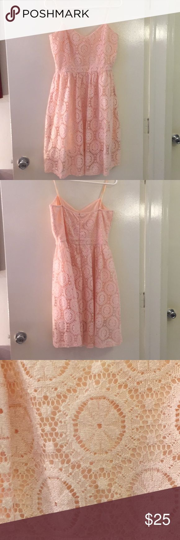 Peach Lace Dress with Lining Beautiful, empire waist, zip-back peach/pink dress. Never worn. Just Me from Morning Lavender Dresses