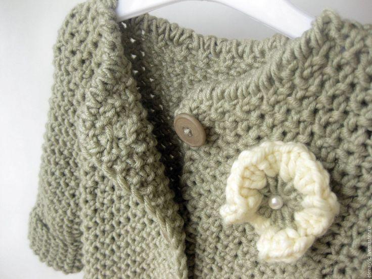Купить Вязаный кардиган /вязаное пальто для девочки со съемным воротником - вязаный кардиган
