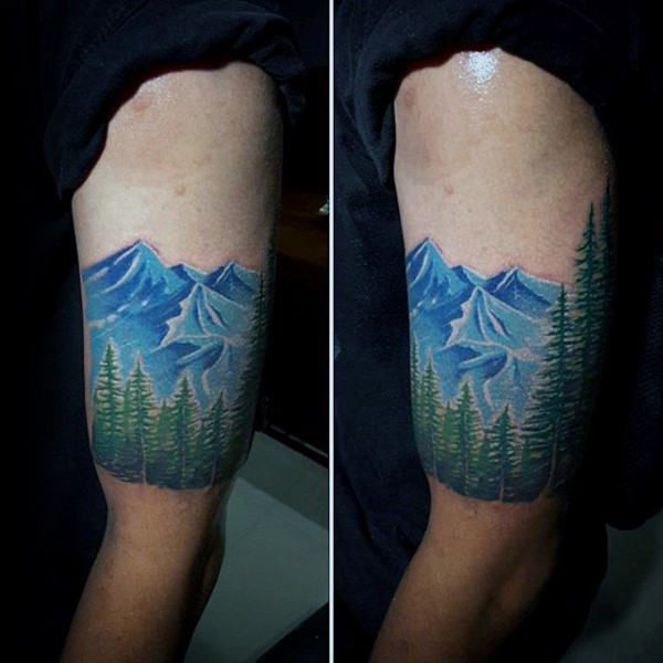 Blue Ink With Green Trees Mens Forest Quarter Sleeve Tattoos