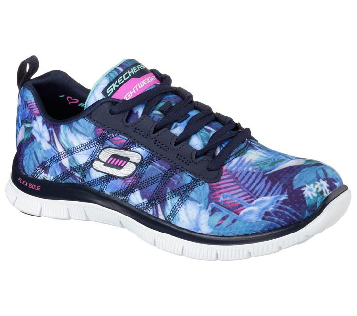 Tropic style meets extreme comfort in the SKECHERS Flex Appeal - Floral  Bloom shoe. Skech-Knit Mesh fabric upper in a lace up sporty training  sneaker with ...