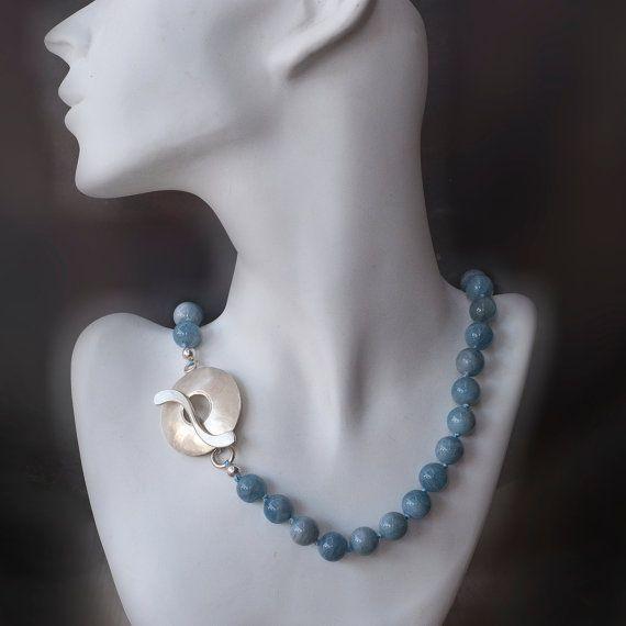 Aquamarine Necklace Oversized Sterling Silver Handmade Clasp Collar Corto Collar De Aguamarina Collares