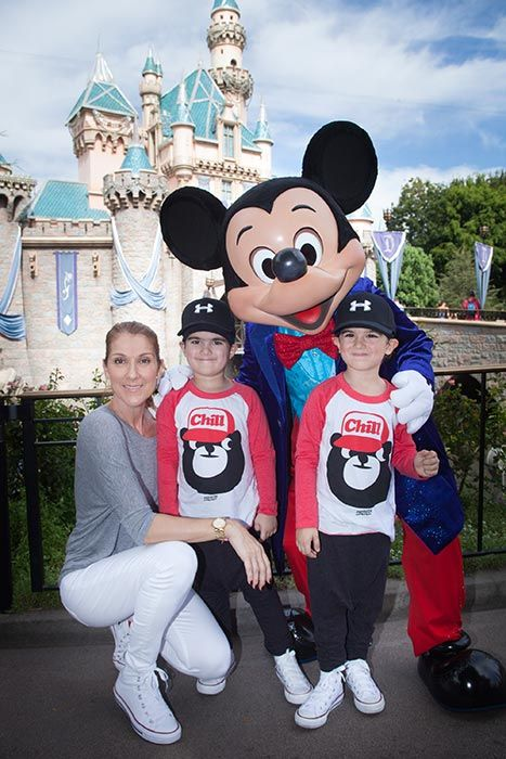 Celine Dion took her twin sons to celebrate their upcoming fifth birthday at the happiest place on earth on Wednesday