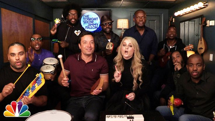 """Jimmy Fallon, Meghan Trainor & The Roots Sing """"All About That Bass"""" (w/ ..."""