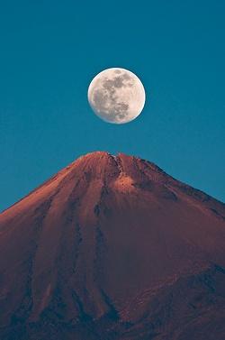 Moon Rising Over Mount Teide