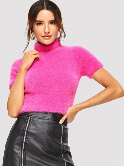 db2ad9204ec SheIn Casual Plain Pullovers Regular Fit High Neck Short Sleeve Pullovers  Hot Pink Crop Length Form Fitting Short Sleeve Teddy Sweater