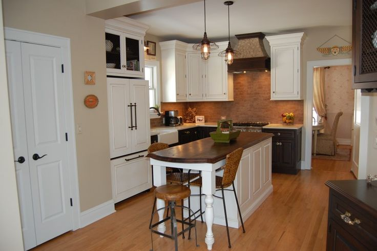 L Shaped White Kitchen Cabinet With Varnished Top Island Dining ...