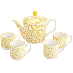 Yellow Vine Teapot SetCoffee Bar, Teapots Sets, Vines Teapots