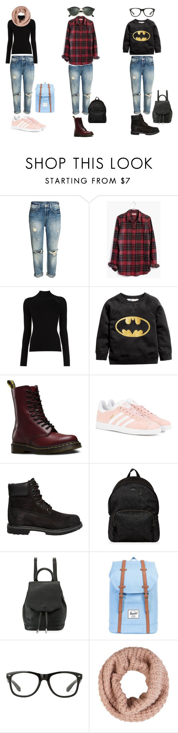 """""""outfit school"""" by anna-lena09 on Polyvore featuring Madewell, Misha Nonoo, Dr. Martens, adidas Originals, Timberland, Hogan, rag & bone, Herschel Supply Co., Accessorize and Ray-Ban"""