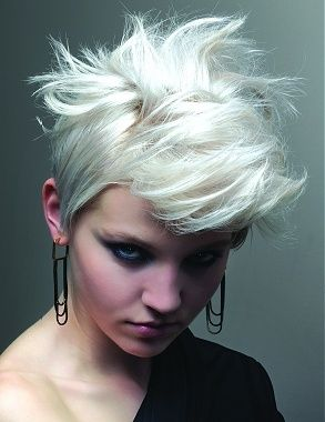 short blonde straight coloured silver hair -- love those earrings, too!