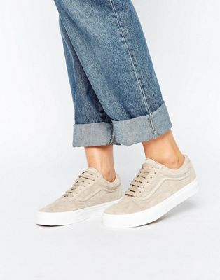 Vans Premium Suede Old Skool Sneakers In Beige