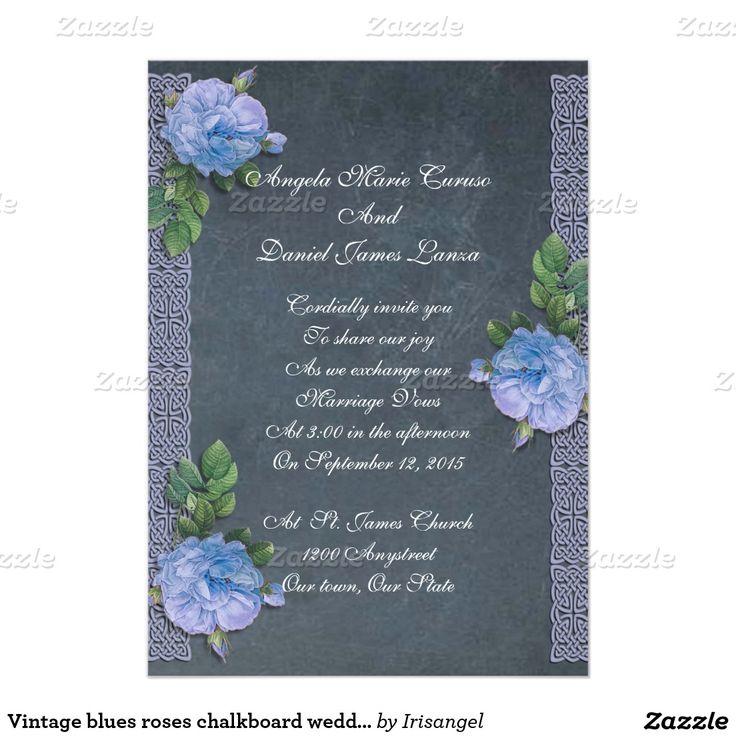 Vintage blues roses chalkboard wedding Invitation The