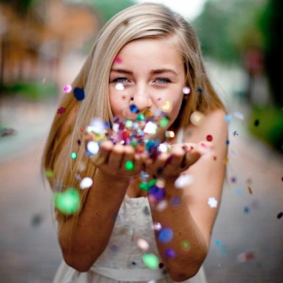 Perfect for sweet 16 or senior shoot..or a wedding photo with two people and white/silver glitter!
