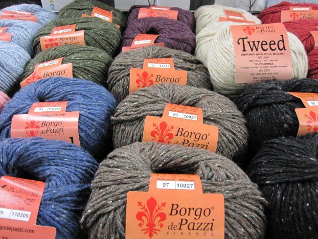 New for fall, Tweed is a blend of merino wool, polyamid, and silk for light-weight garments or accessories. This DK weight fingering weight yarn comes in lots of tweed colours. Available in-store and online.