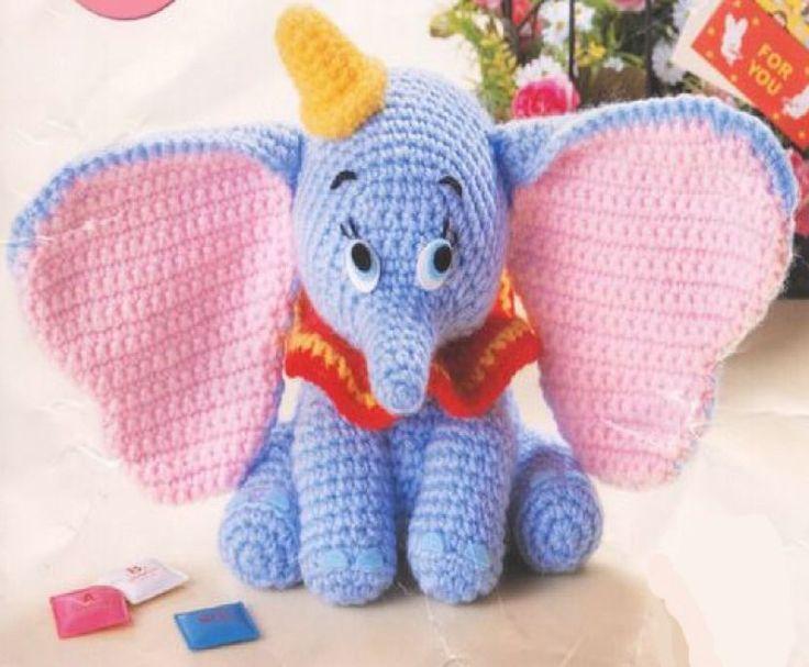 """Dumbo Amigurumi ~ Patrón Gratis en Castellano en PDF (Click debajo de las fotos: """" Dumbo.pdf"""" para descargarlo)"""