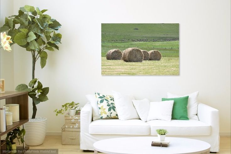 A bit of #country #green adds life to any living room's decor. The big round hay bales really draw the eye in as do the sheep in the distance. #living #green #country #design #decor #home #room #life #hay #bales #sofa #cosy #theblock