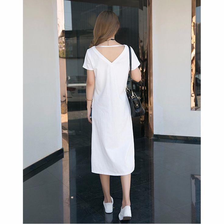 2016 мода асимметричный длинные рубашки тис повседневная черный белый битник…