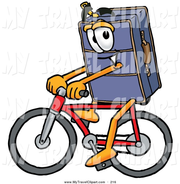 ... Suitcase Cartoon Character Riding a Bicycle by Toons4Biz - #216