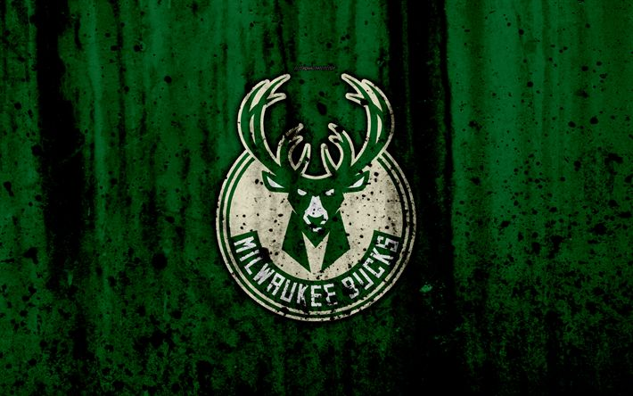 Download wallpapers 4k, Milwaukee Bucks, grunge, NBA, basketball club, Eastern Conference, USA, emblem, stone texture, basketball, Central Division