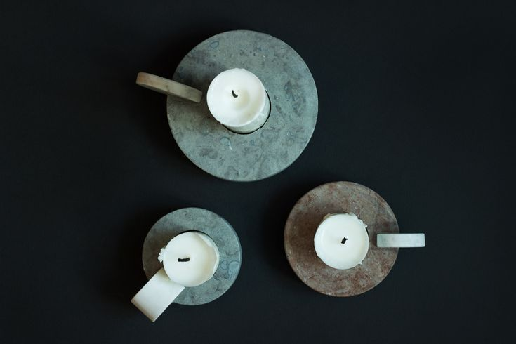 Candle Sticks – Grey or red Swedish Limestone with White Carrara Marble handle.