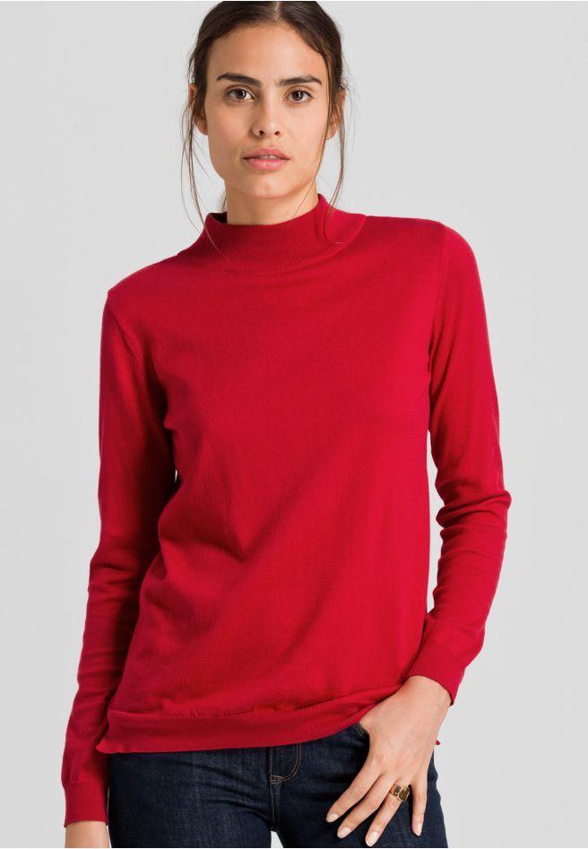 erhältlich in rot - Strick Pullover Solid, 100% Baumwolle (bio), Regular fit, GOTS, organic, CERES-008 - nachhaltige Materialien und faire Produktion