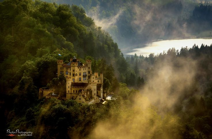 Golden Nest by PhotonPhotography -Viktor Lakics on 500px. The Hohenschwangau castle after rain...Golden hour stroke with unexpected intensity once the storm stopped, and the castle emerged from the mist...