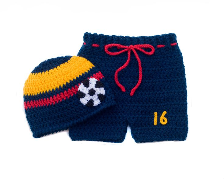 Baby Boy SOCCER HAT & SHORTS Football Crochet Navy Blue Gold Red Columbia Flag Colors, Newborn Columbian Soccer Baby, Soccer Baby Knit Hat by Grandmabilt on Etsy