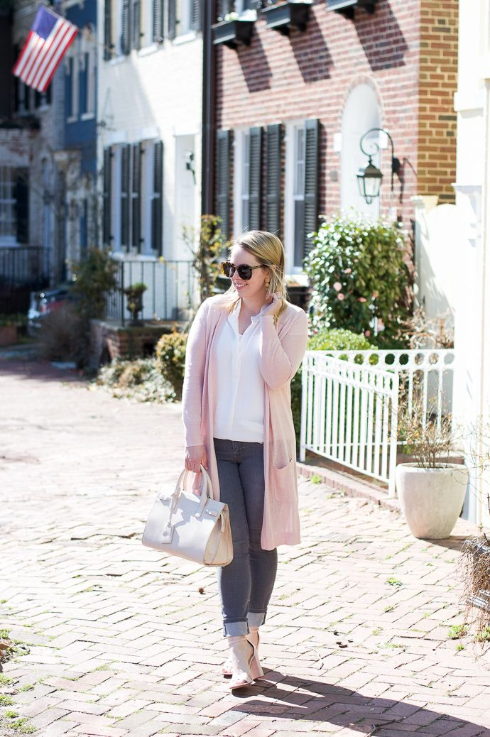 85a90753d20 Must-Have Spring Sweater  Blush cardigan with grey jeans for a casual spring  outfit.
