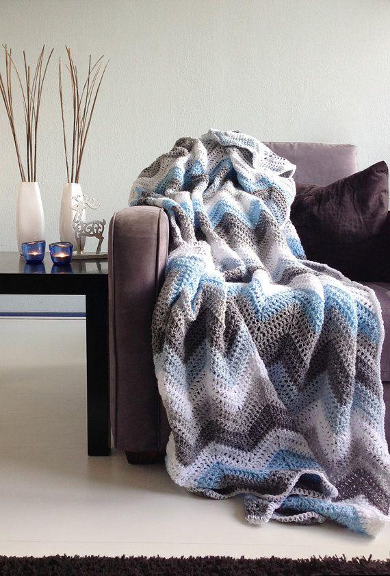 Love these colors.  Blue grey sparkle winter  afghan crochet by WinkelvanCinkel, $96.00