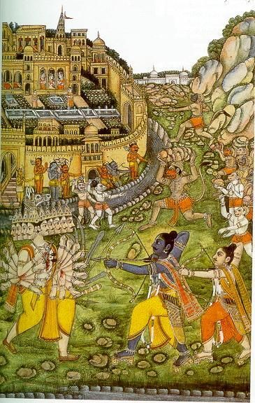 Lord Rama with his bow defeats Ravana in the gold city of Lanka.