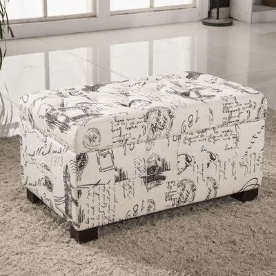 Bellasario Collection Paris Vintage French Writing Button Tufted Wood Storage Bedroom Bench