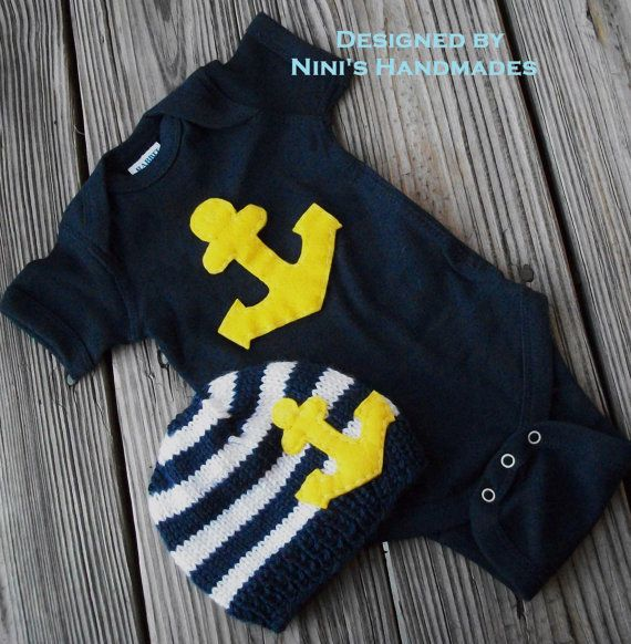 Knit Nautical Baby Hat And Baby Bodysuit Set With Yellow