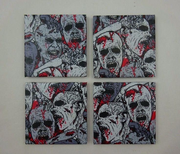 "4 Zombie Drink Coasters ~ Skulls Bones Brains & Blood ~ 4 1/4"" X 4 1/4"" ~"